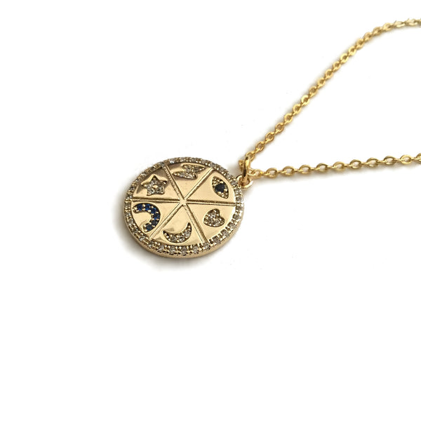 evil eye lucky charm medallion coin necklace