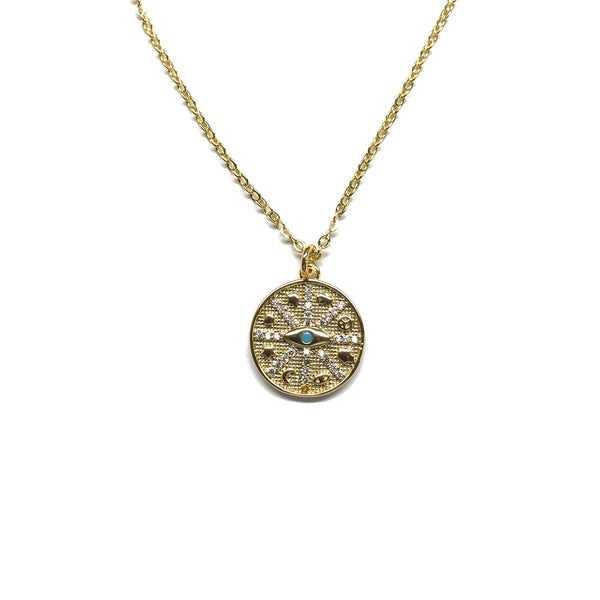 gold evil eye protection charm necklace