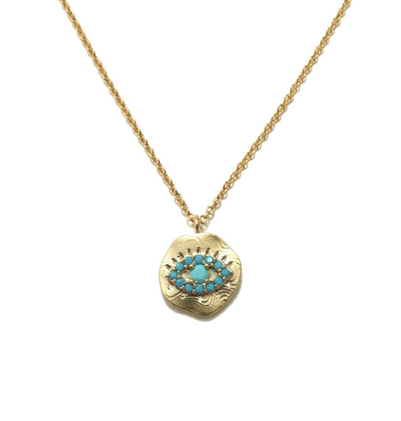 Gold plated evil eye with a small turquoise stone pendant necklace