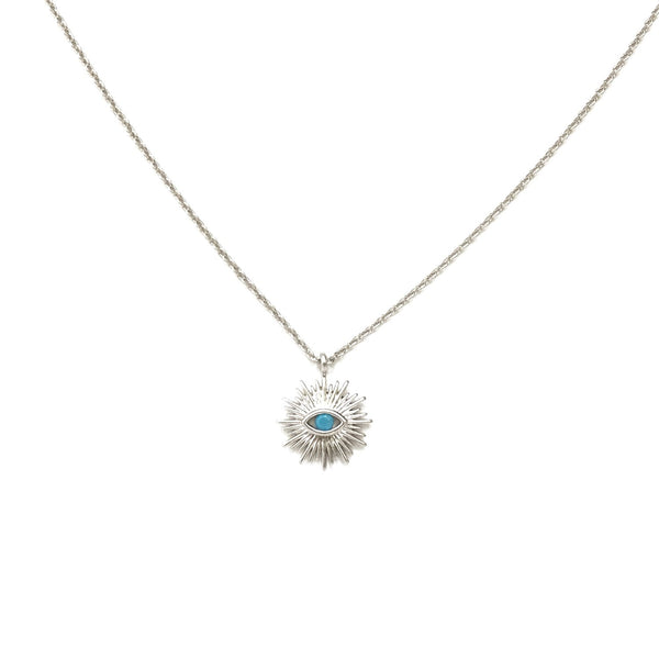 Silver plated evil eye and turquoise in the center necklace