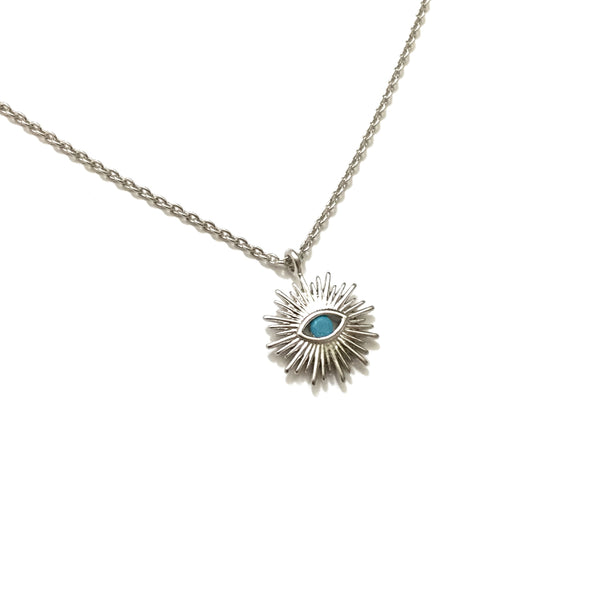 Silver Evil Eye Turquoise Starburst Necklace