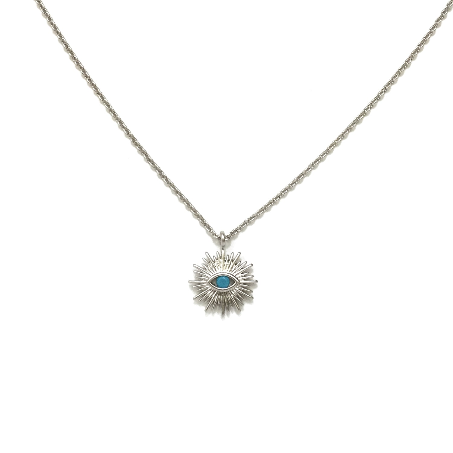 Silver plated evil eye and turquoise starburst necklace