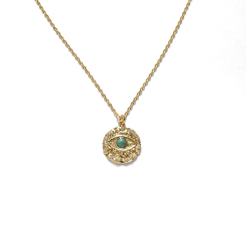 Gold plated evil eye cubic zirconia diamonds with turquoise stone medallion necklace