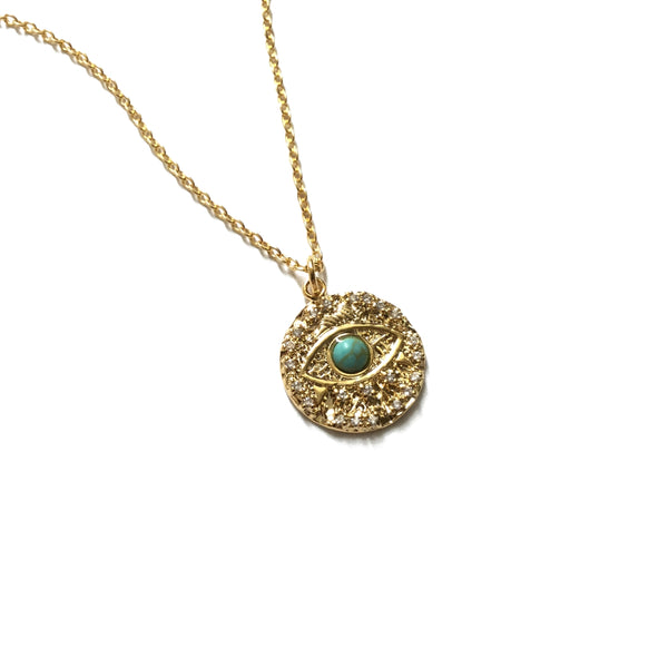 Gold plated evil eye with tiny cubic zirconia and turquoise medallion coin necklace