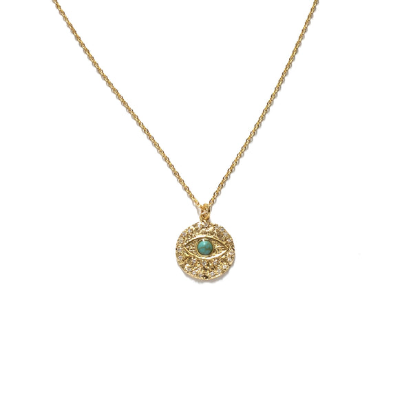 Gold plated evil eye medallion with a tiny turquoise stone in the centre necklace