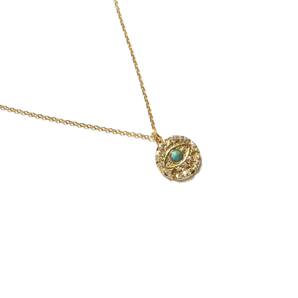 Evil eye cubic zirconia diamond with turquoise coin Necklace