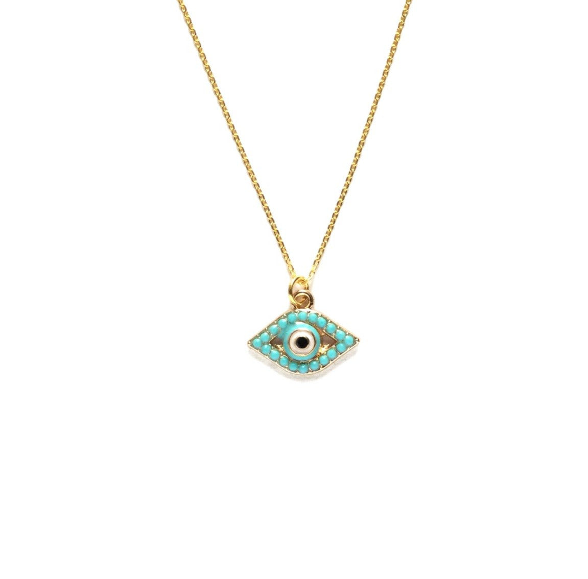 gold plated evil eye with tiny turquoise bead necklace