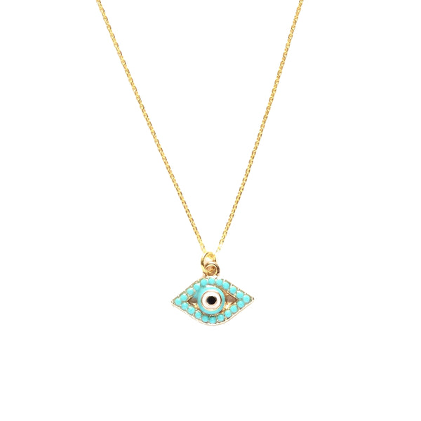 Small gold plated evil eye with tiny turquoise bead necklace