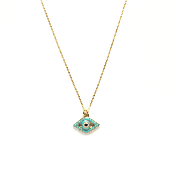 Evil Eye Turquoise Glass Bead Necklace