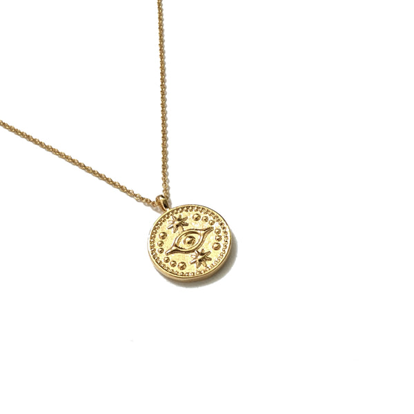 Gold plated evil eye medallion coin necklace