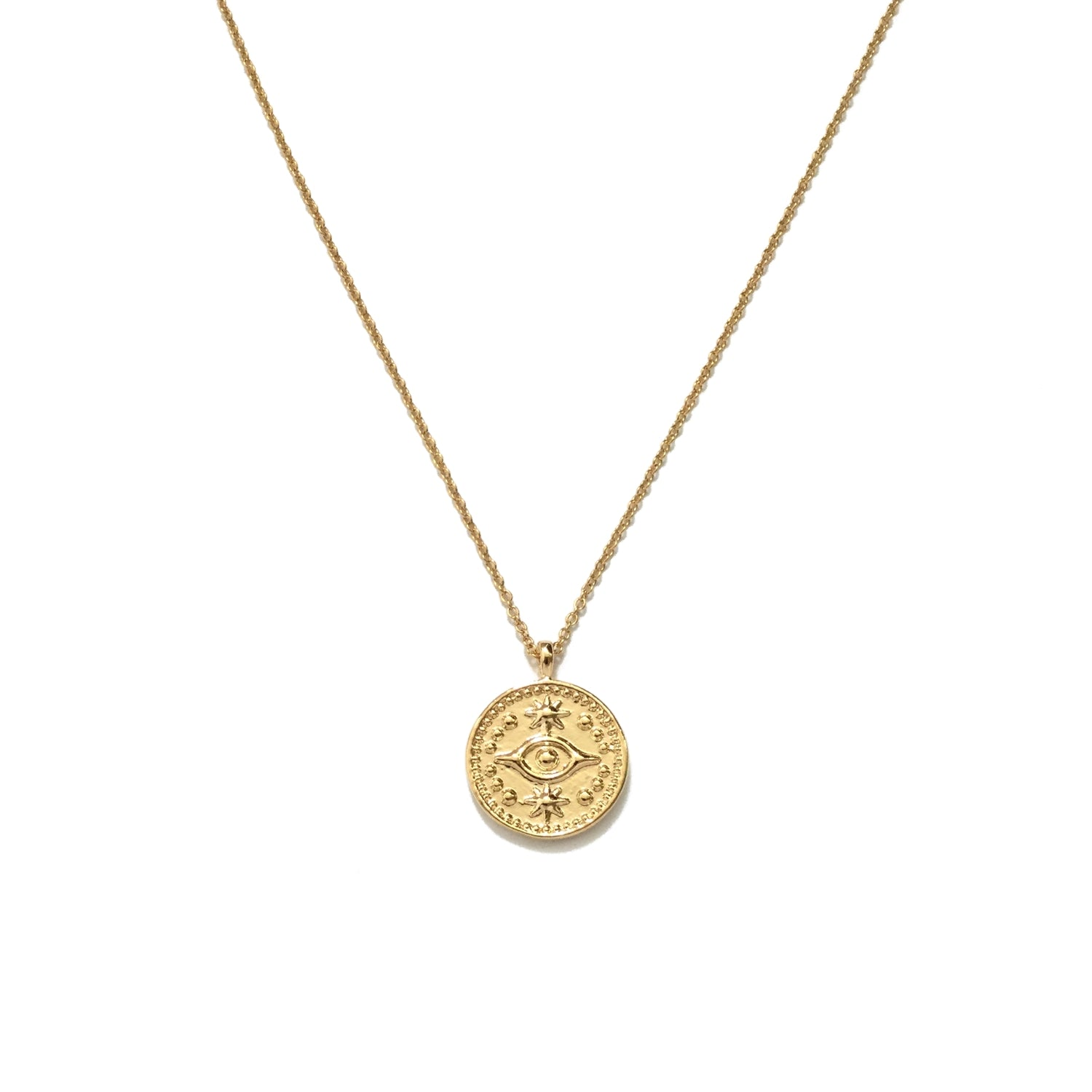 Gold plated evil eye coin pendant necklace