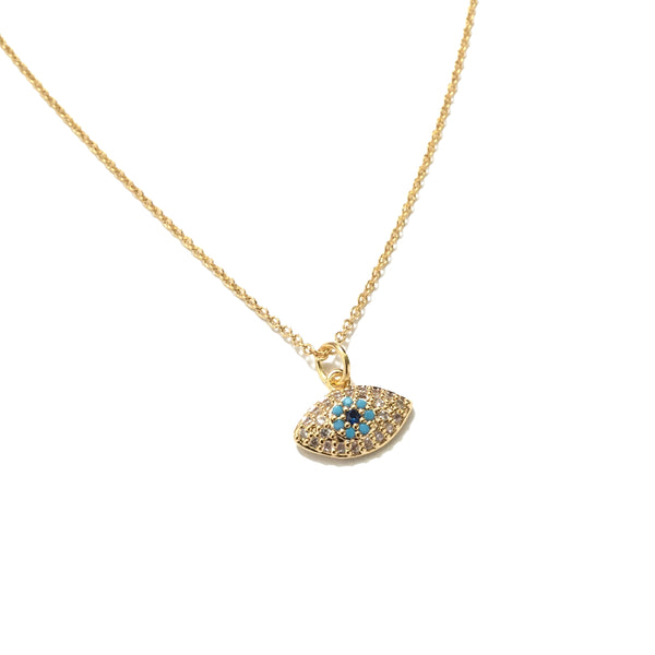 Gold plated evil eye cubic zirconia turquoise necklace
