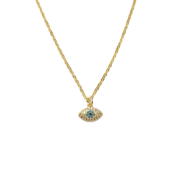 Tiny Gold plated evil eye cubic zirconia turquoise necklace