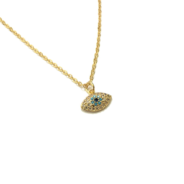 Evil eye Cubic Zirconia and Turquoise Necklace