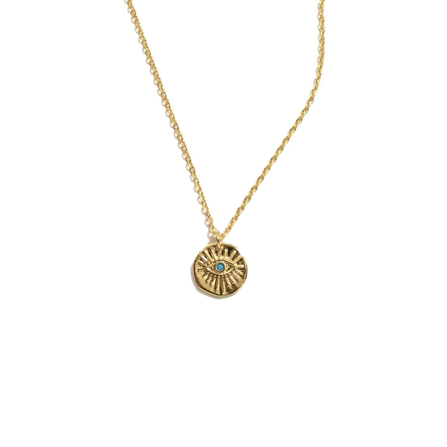 Gold plated evil eye turquoise bead coin necklace