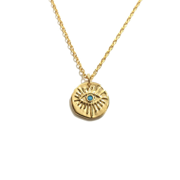 Gold evil eye turquoise stone medallion coin necklace