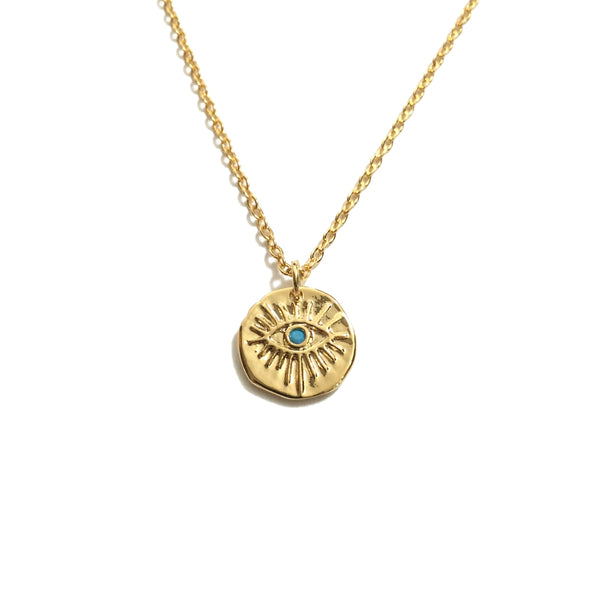 Gold plated evil eye with tiny turquoise stone coin necklace