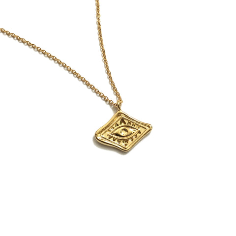 Evil eye gold plated tiny necklace