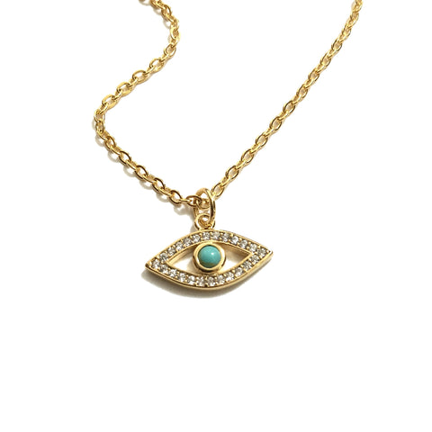 Tiny cubic zirconia evil eye turquoise necklace