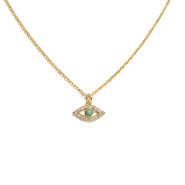 Evil eye cubic zirconia turquoise necklace