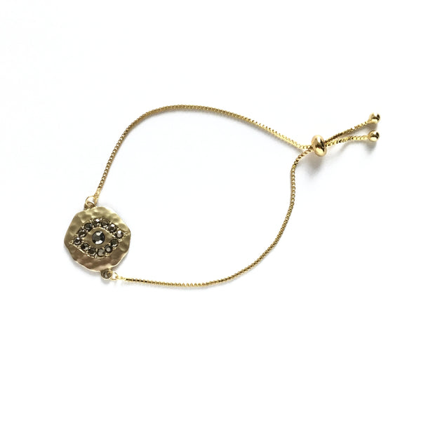 Gold evil eye cubic zirconia coin adjustable stainless steel bracelet