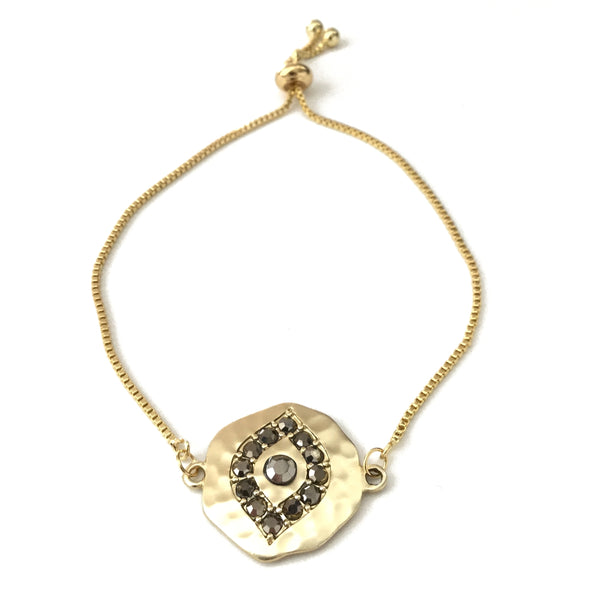 Gold plated matte evil eye coin black cubic zirconia gold stainless steel adjustable bracelet
