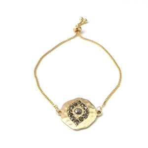 Gold plated matte evil eye black cubic zirconia adjustable bracelet