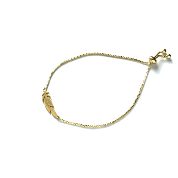 Gold Feather Adjustable bracelet