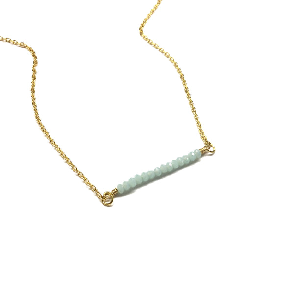 amazonite gemstone bar necklace