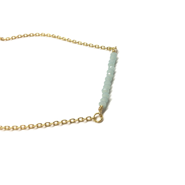 amazonite semi precious bar necklace