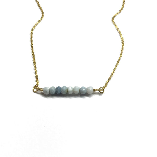 opal gemstone bar necklace