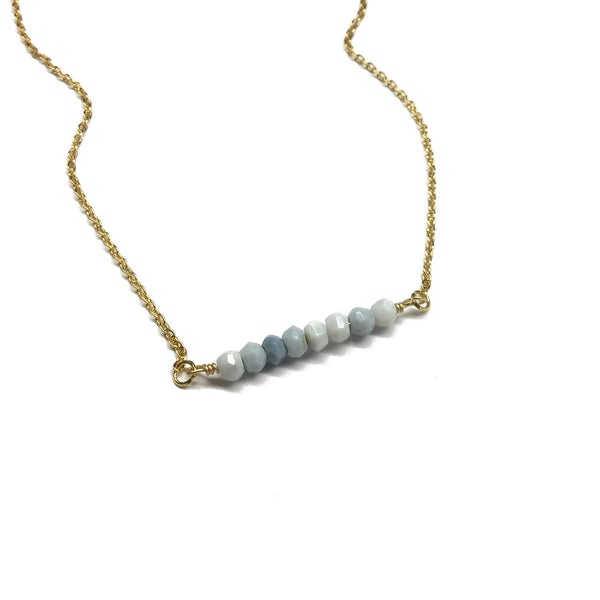blue denim opal gemstone bar necklace