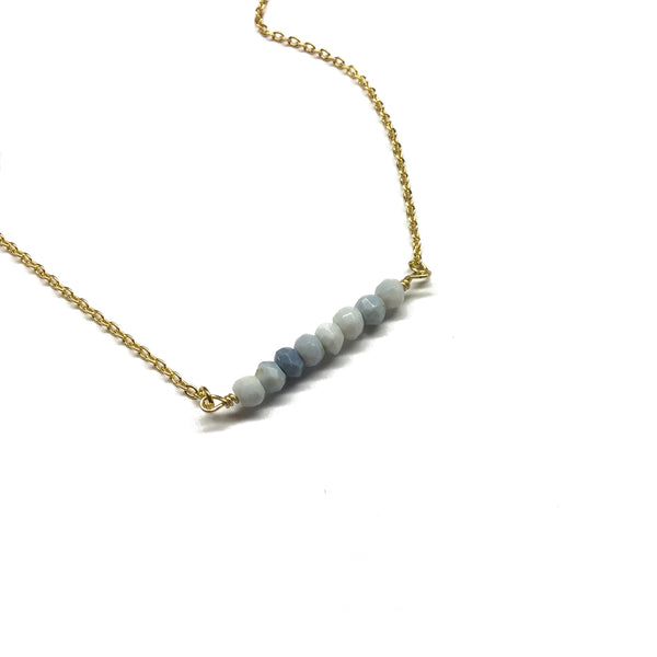 blue opal gemstone bar necklace