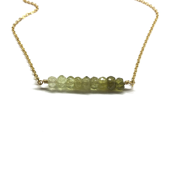 green garnet gemstone bar jewelry