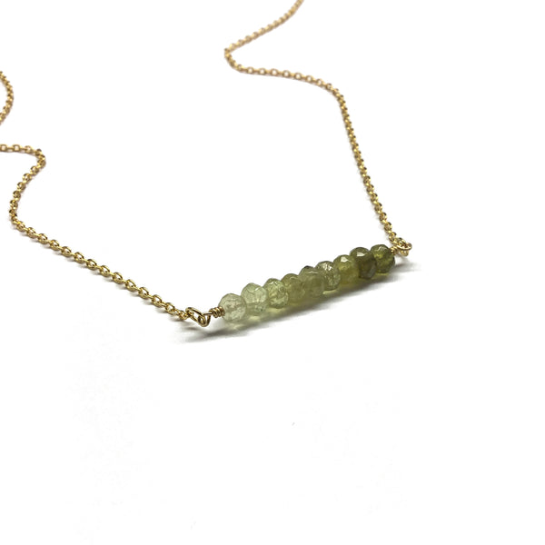 green garnet gemstone necklace