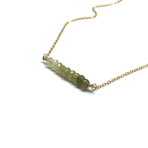 green garnet bar necklace
