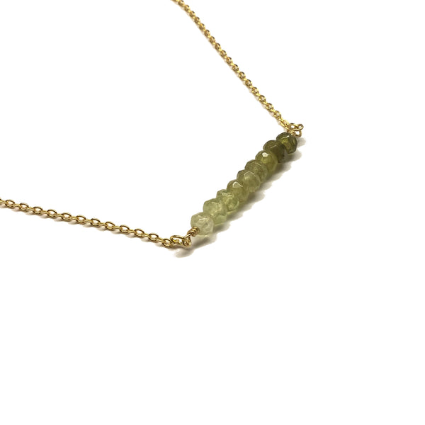 green garnet gemstone bar necklace