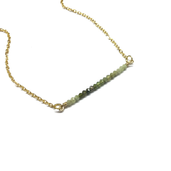 green tourmaline gemstone bar necklace