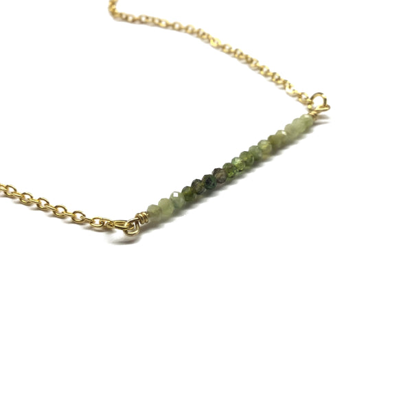 green tourmaline gemstone bar pendant