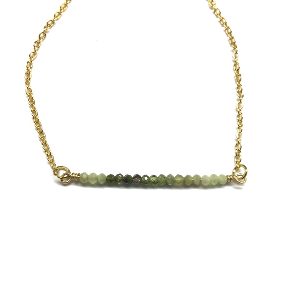 green tourmaline bar necklace