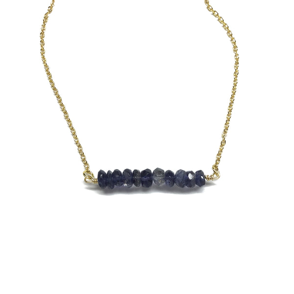Iolite gemstone bar necklace