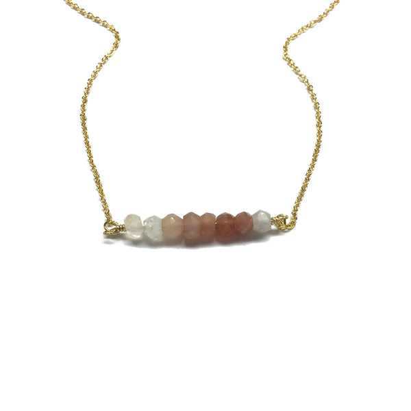 multi moonstone bar necklace