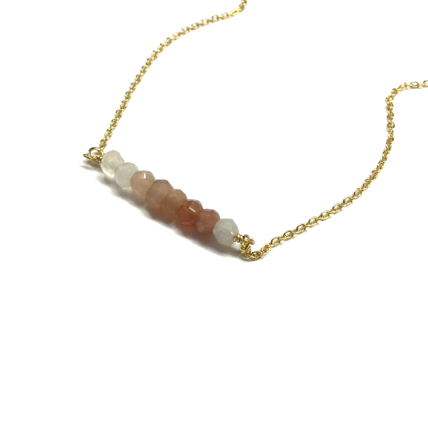 multi moonstone gemstone bar necklace