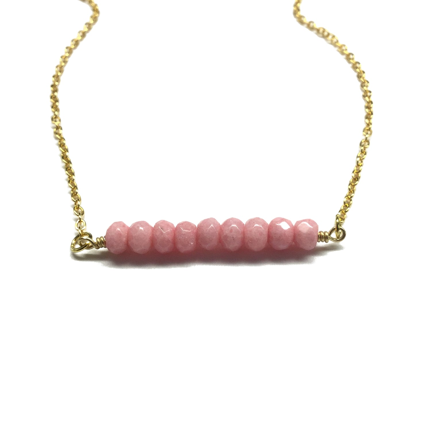 rhodochrosite gemstone bar necklace