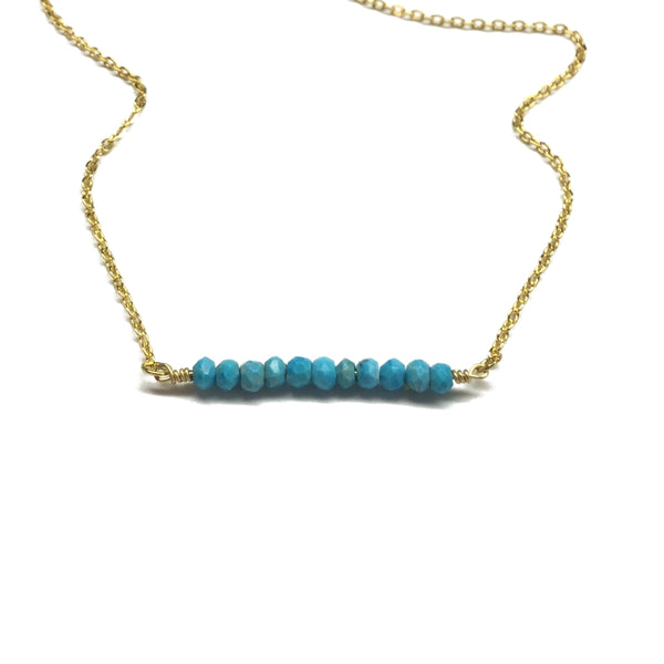 turquoise semi precious bar necklace
