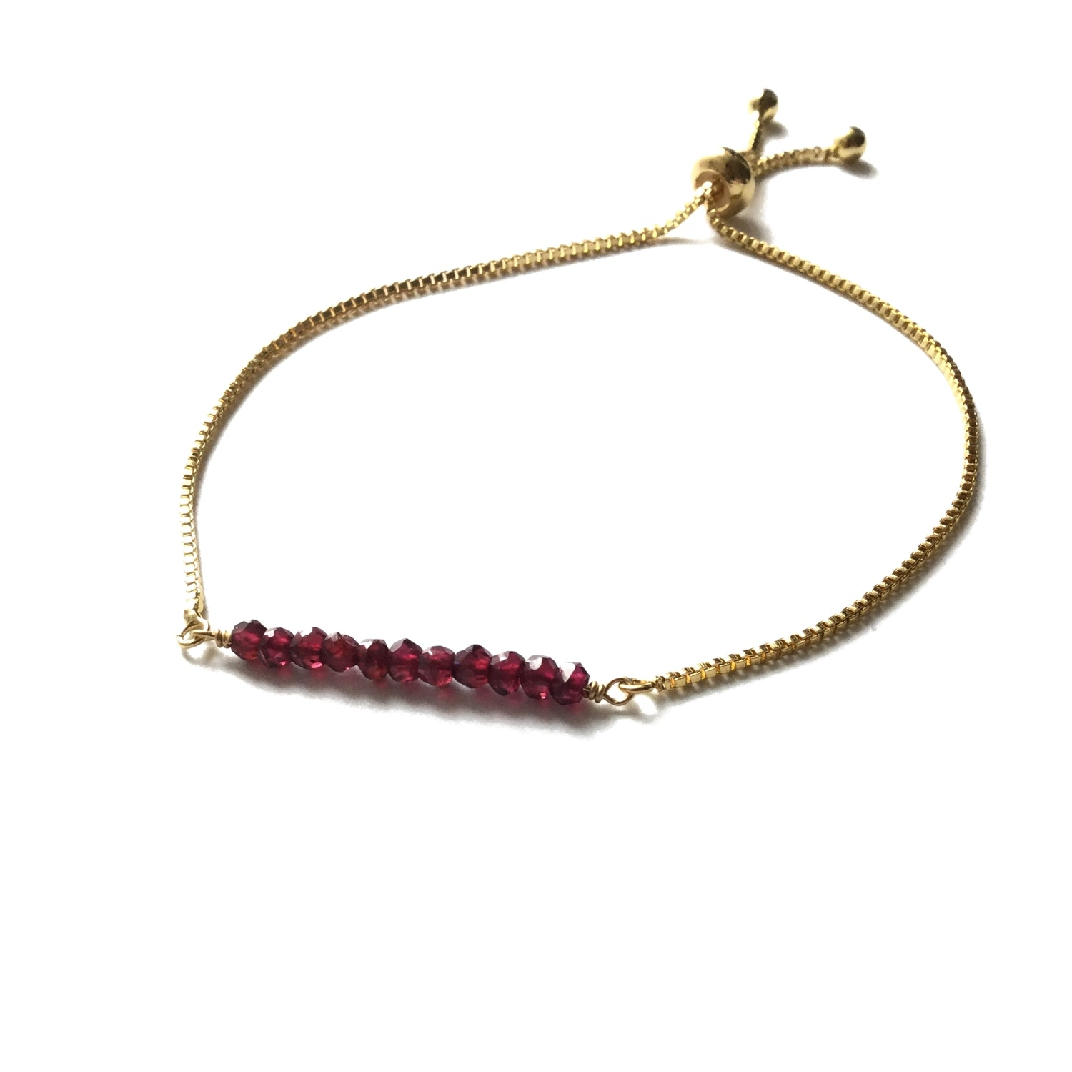 Natural garnet gemstone bar gold stainless steel box chain adjustable bracelet
