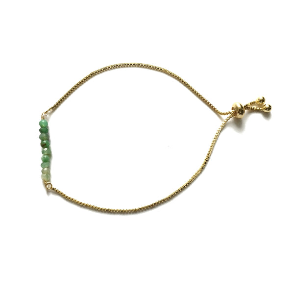 Natural chrysoprase gemstone bar gold stainless steel box chain adjustable bracelet