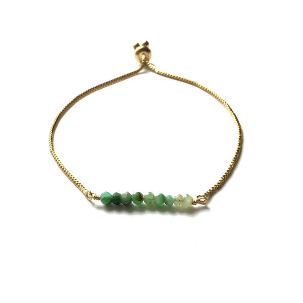 Natural Chrysoprase Gemstone Bar Bracelet