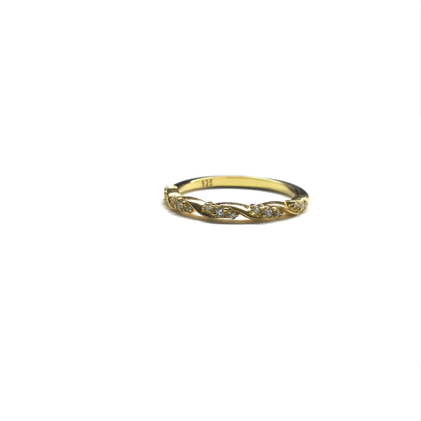 gold cz sparkly engagement stacking ring