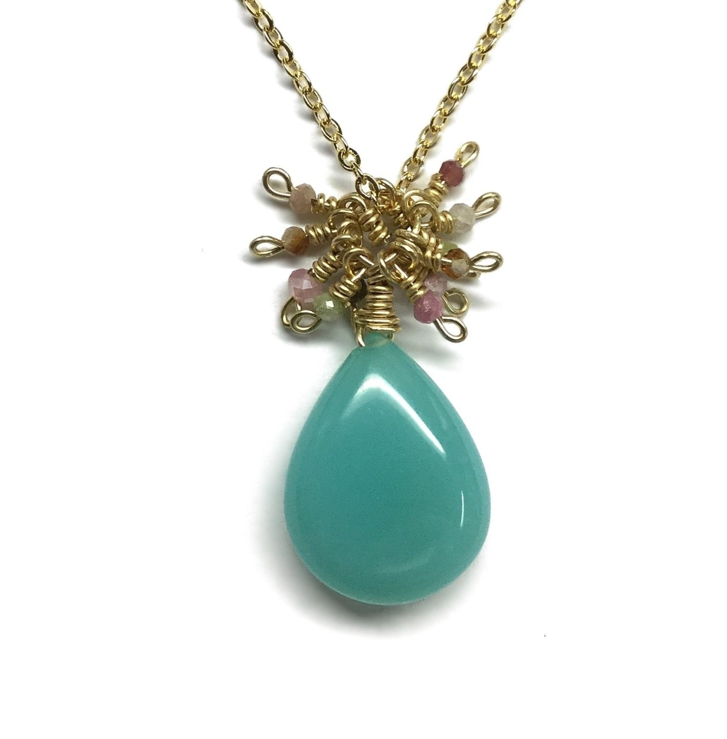 teardrop smooth green chalcedony tourmaline necklace